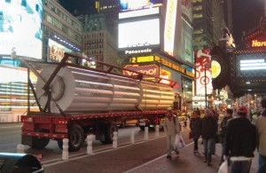 40-foot turbine arriving at Times Square.