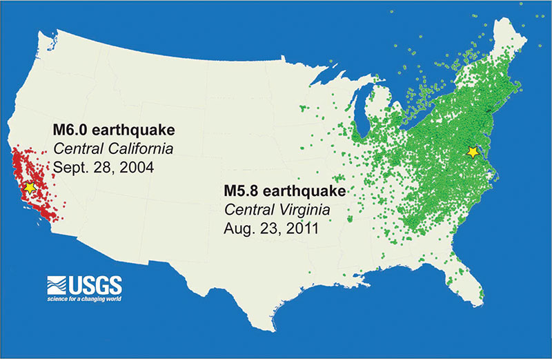 figure 1 comparison of usgs did you feel it maps from the 2011 m5 8 mineral va green and the 2004 m6 0 central california red earthquakes
