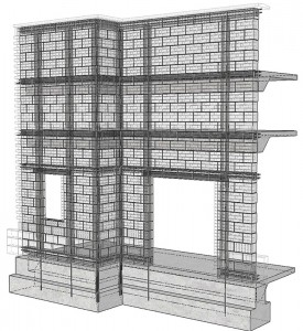 Figure 2: Virtual mock-up of load-bearing masonry construction with structural elements highlighted. Courtesy of Lena Klein and Russell Gentry, Georgia Tech Digital Building Laboratory.