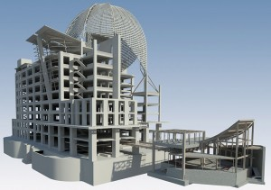 Figure 2: All structural and architectural components were modeled, coordinated, and 4-D scheduled thru Revit, Vico, and Synchro. Courtesy of Turner Construction.