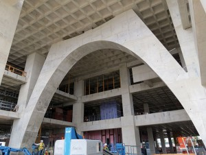Figure 3: A 64-foot long concrete gravity arch dominates the library's main lobby.