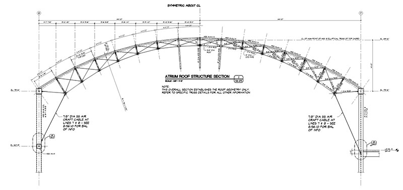 Construction Doent Section Through Center Cylindrical Portion Of Roof Structure