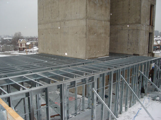 the design features pre fabricated cold formed steel joists rim track and structural blocking