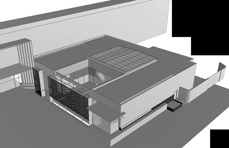 3D Isometric Showing Sliding Roof Over Garden Area.
