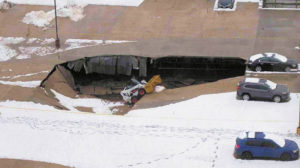 Failure caused by compacted snow pile, Secaucus, NJ.