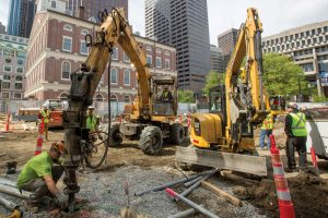 Helical piles support new glass building in Boston.