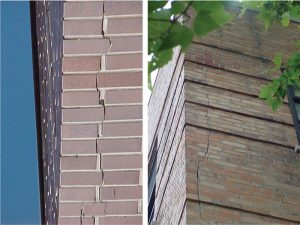 Figure 5. Typical corner crack. Cavity wall (left); Transitional façade (right).