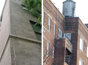 Figure 6. Ineffective crack repairs at corners. Elastic compound fill (left); Mortar fill (right).