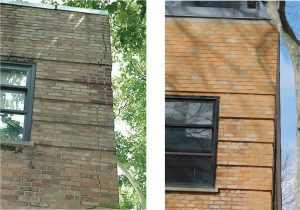 Figure 8. Corner repair without cut joints – before and after.