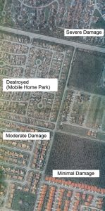 Figure 1. Hurricane Andrew damage in four neighborhoods. Courtesy of Aerial Cartographics of America, Inc.