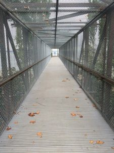Bridge walkway with new FRP decking.