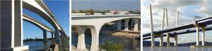Figure 2. Example bridges designed for extended service life: a) Second Gateway Bridge, Brisbane, AU, designed for 300-year service life (© Murarrie, 2016), b) St. Anthony Falls Bridge, MN, USA, designed for 100-year service life (©RJ Watson, Inc., 2016) c) New Tappan Zee Bridge, NY, USA, designed for 100-year service life (© HDR, Inc., 2016)