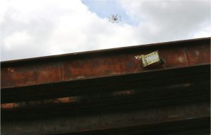 View of the steel girder railroad bridge at the Robot City Roundhouse (Hazelwood, PA), used as one of the testbeds in this research project.