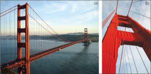 Figure 1. a) Golden Gate Bridge; b) Golden Gate Bridge, south tower.