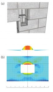 Figure 4. a) 3D image of masonry lintel/jamb reinforcement; b) Plate stresses used to determine lintel moment.