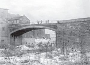 Old view of the bridge, with Brownsville on the right from Sherman Day's Historical Collections of the State of Pennsylvania.
