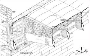 HAER drawing of arches, spandrel, bracing, and decking.