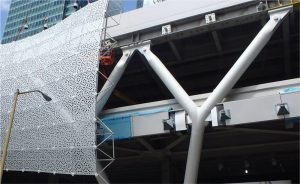 Figure 1. Cast nodes in the architecturally exposed steel frames at the Transbay Transit Center. Courtesy of Transbay Joint Powers Authority.