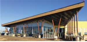Figure 6. Sloped wood columns support an over-hanging roof in Grand Prairie, Alberta. Courtesy of Stantec.