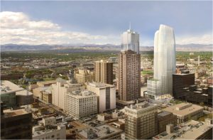 The architect's rendering of the skyline-changing 1144 Fifteenth Street, the first Class A office tower built in downtown Denver in 30 years.