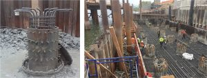 Foundation under construction: a repaired shaft (left) and bottom layer of reinforcement in mat slab (right).