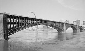 Eads Bridge with St. Louis Arch in the background. Courtesy of HAER.