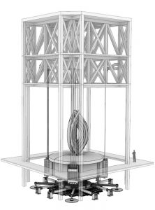 Supported by the crown structure of the tower, the simple pendulum of the tuned mass damper at the top of the Shanghai Tower is suspended over an eddy current damping system by 12 cables, three on each of four corners.