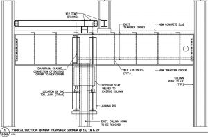 Figure 3. Elevation of the existing framing, new transfer girder, and jacking rig.