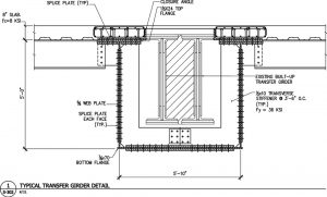 Figure 4. Cross section of the new and existing transfer girders.