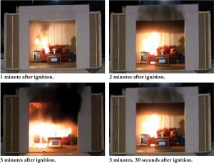 """Figure 3. Living room fire transitioning through """"flashover."""" Courtesy of Kerber, S., """"Impact of Ventilation on Fire Behavior in Legacy and Contemporary Residential Construction,"""" UL Firefighter Safety Research Institute, December 14, 2010."""
