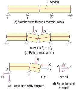 Figure 5. Failure mechanism and partial force diagram of the member with restraint crack.