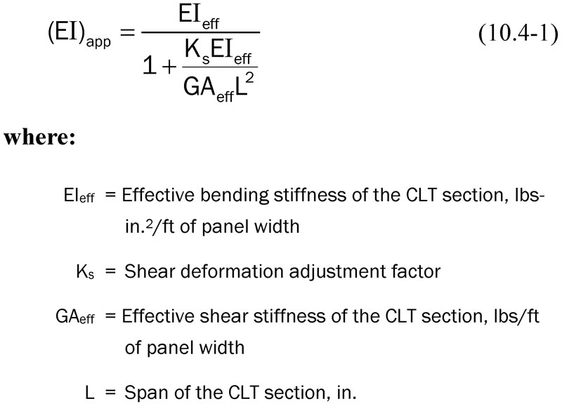 Figure 2. Revised Apparent Bending Stiffness Equation For Calculating CLT  Deflection.