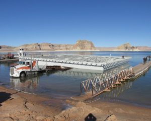 Figure 3. The platform being launched from the boat ramps into Lake Powell.