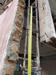 Typical inadequate reinforcing in damaged school buildings.
