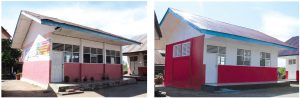 One of the classroom buildings before and after retrofitting.