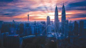 Petronas Twin Towers and the Kuala Lumpur skyline.