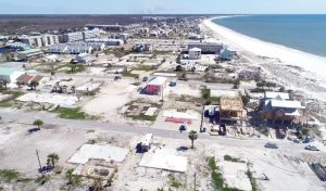 Aerial photograph of Mexico Beach as rebuilding is underway.