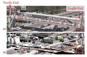 Figure 1. Main span of the bridge: a) before collapse; b) after collapse. Courtesy of NTSB.