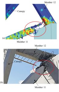 Figure 6. Close up of failure of member 11 during the collapse: a) simulation; b) accident photo. Courtesy of NTSB.
