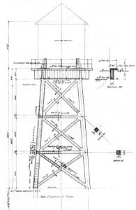 Figure 5. Rooftop water tower elevation from original 1916 Parkinson drawings. Notice support frame is of reinforced concrete.