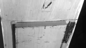 Figure 3. Fatigue crack at the end of a cover plate fillet weld toe (U.S. DOT, Bridge Design Handbook, Design for Fatigue).
